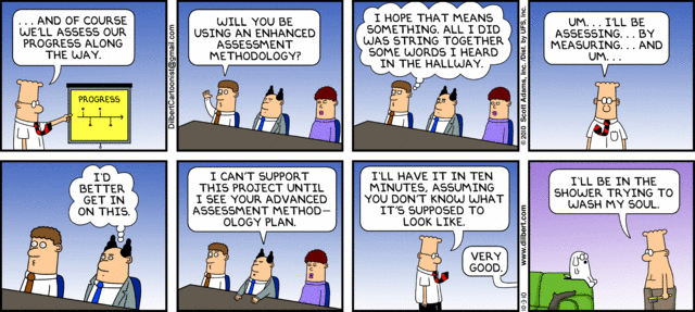 Dilbert on the complexities of project progress tracking