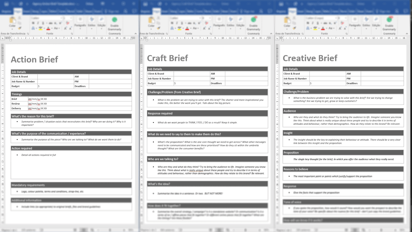 Agency briefing templates - free download