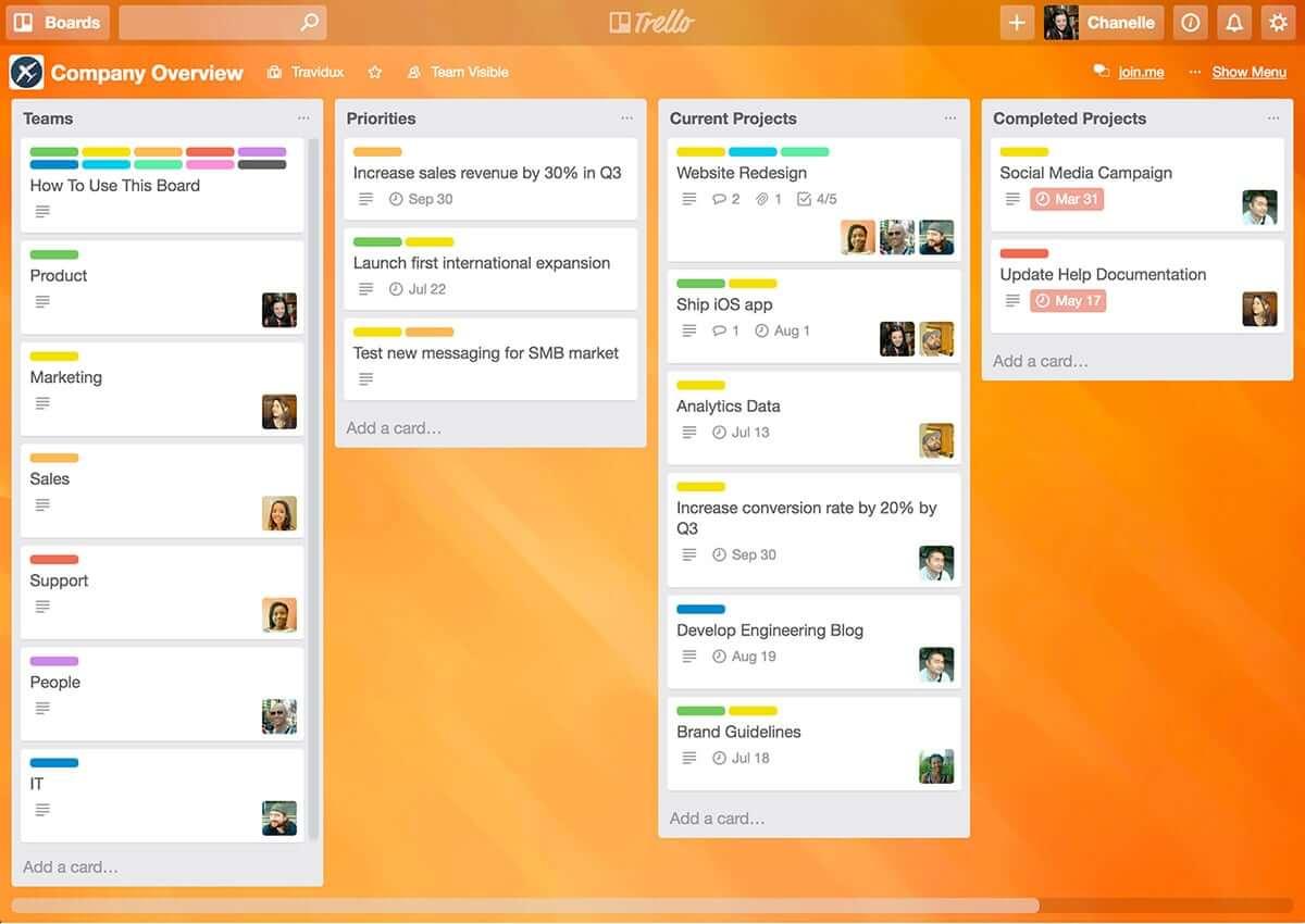 trello screenshot - project management agile tools