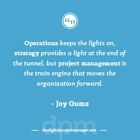 Project Management Quotes - Operations keeps the lights on, strategy provides a light at the end of the tunnel, but project management is the train engine that moves the organization forward. Joy Gumz