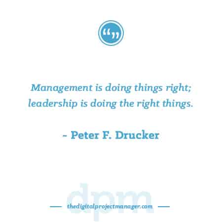 "Project Management Quotes - ""Management is doing things right; leadership is doing the right things.""~ Peter F. Drucker"