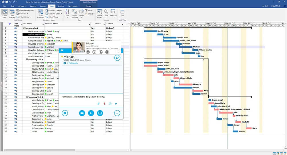 Seavus Microsoft Project Viewer - skype for business