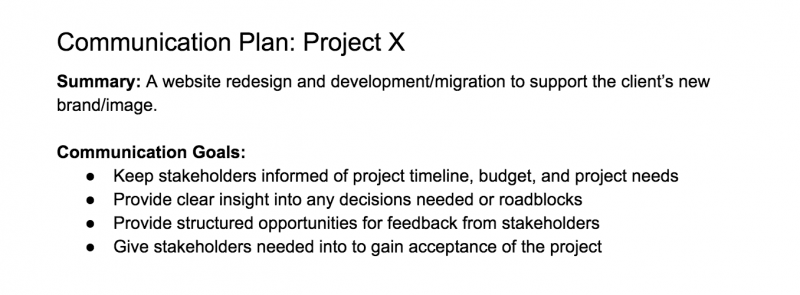 Project communication plan example - Communication goals