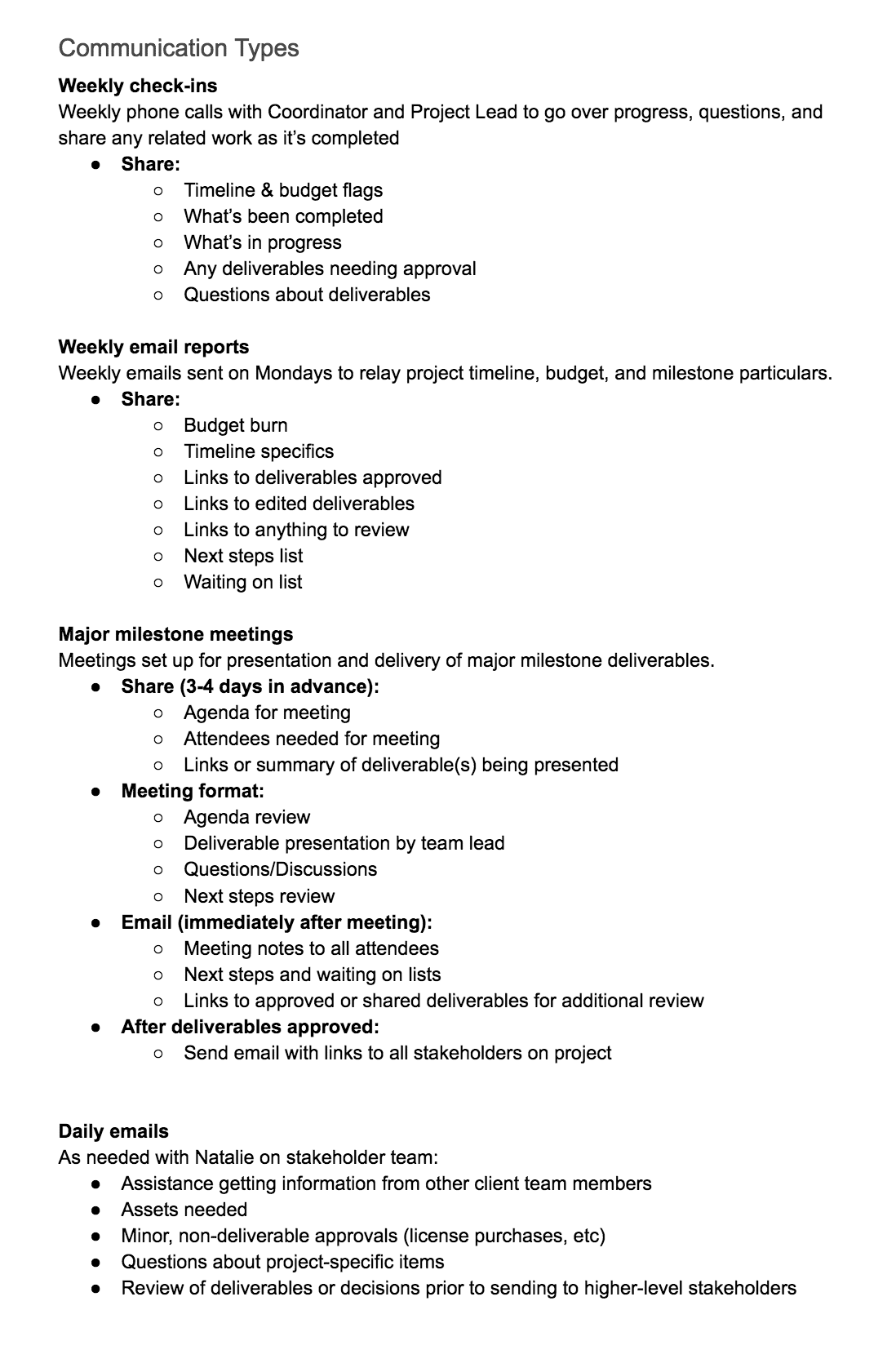 Project communication plan example - Types of communication