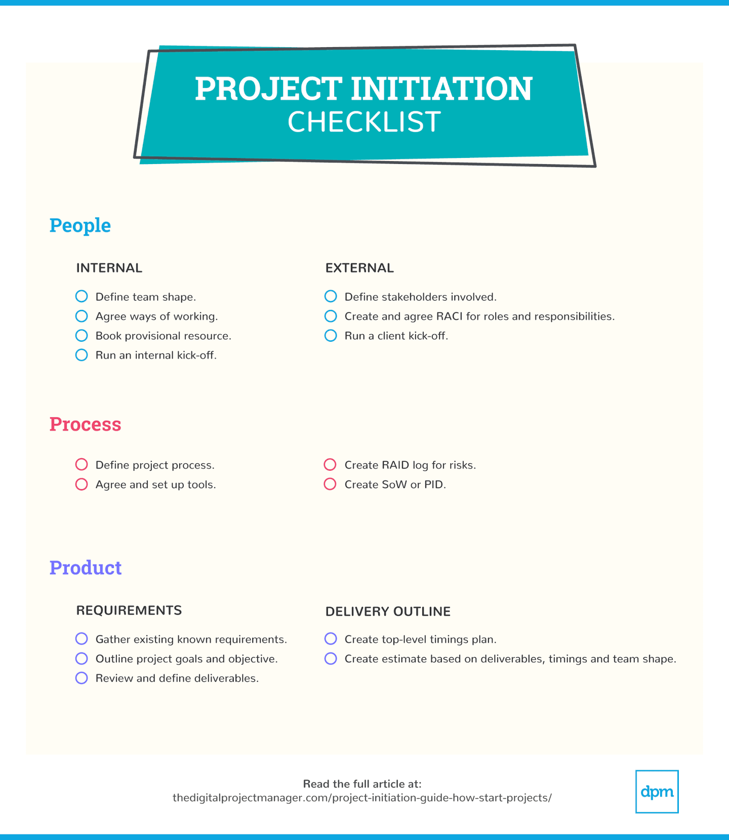 How to start a project - project initiation checklist