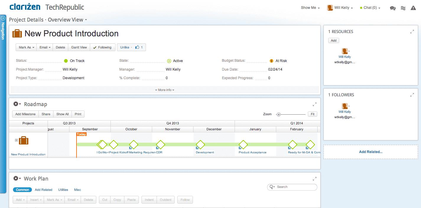 clarizen screenshot - workflow management software