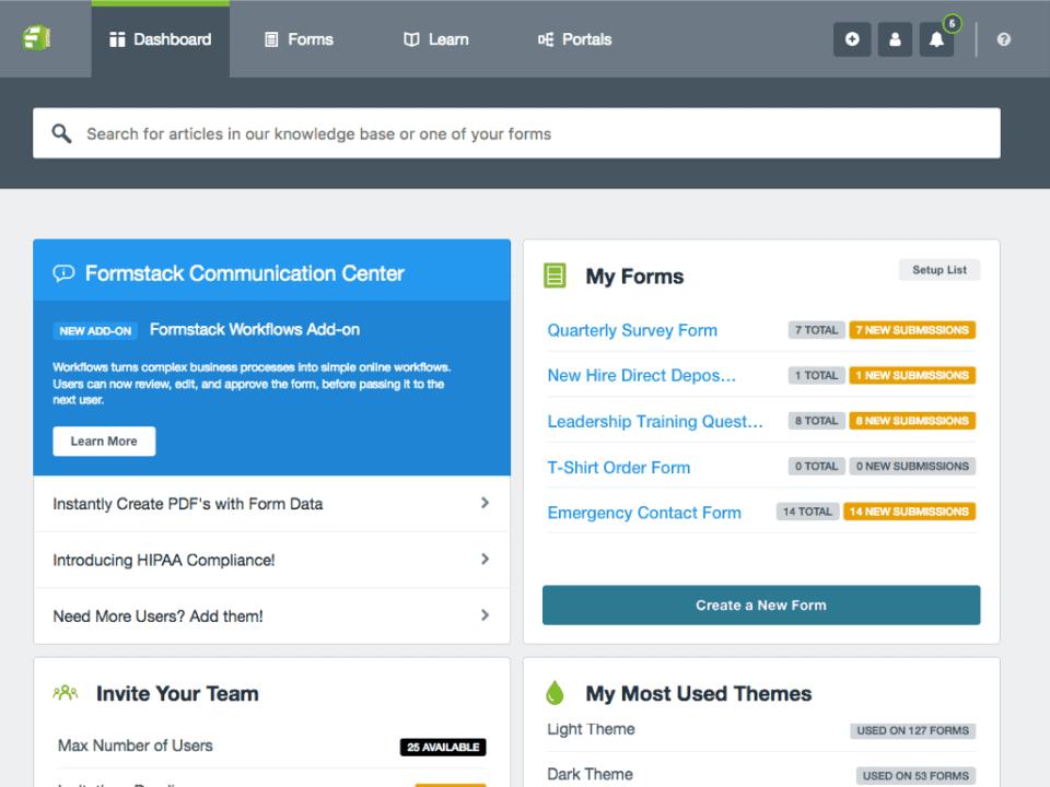 formstack screenshot - workflow management software