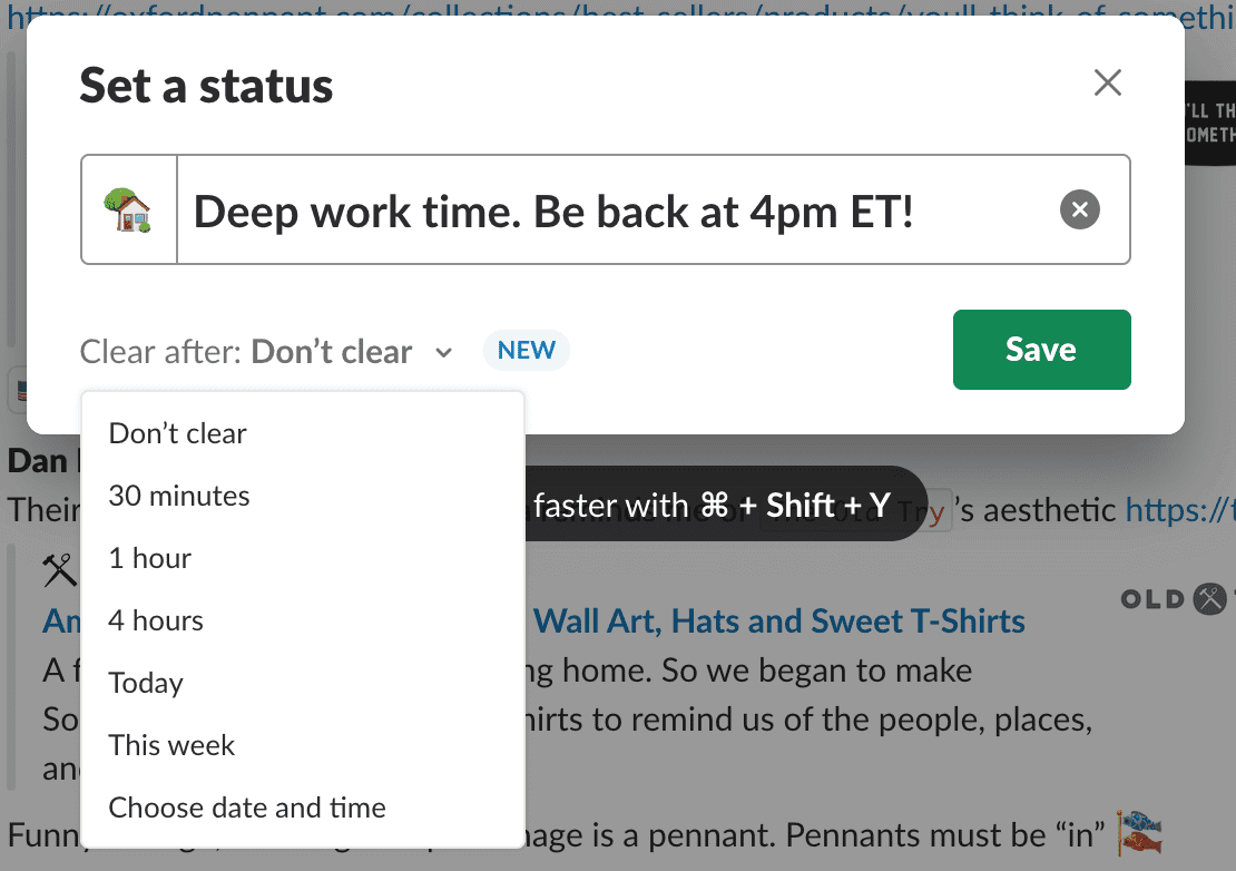 more productive DPM - set a Slack status