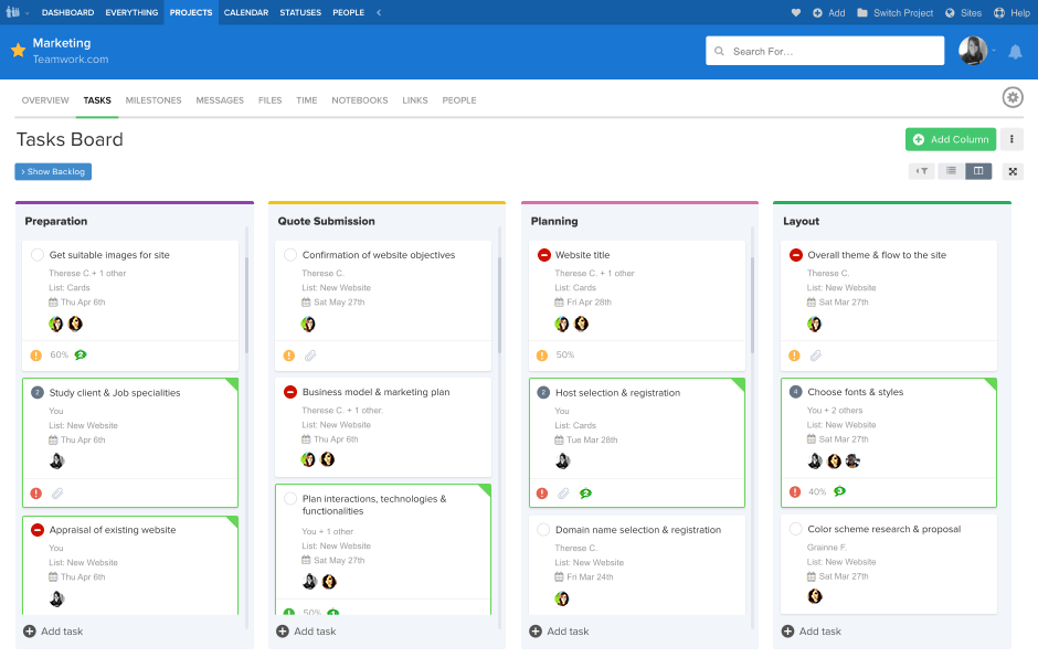 teamwork screenshot - online collaboration tool