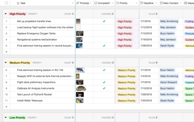 Airtable screenshot - baseline alternatives