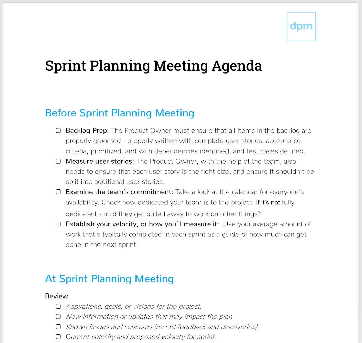 Sprint planning meeting template example