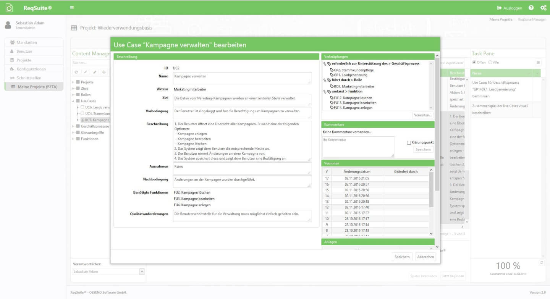reqsuite screenshot - requirements management tools