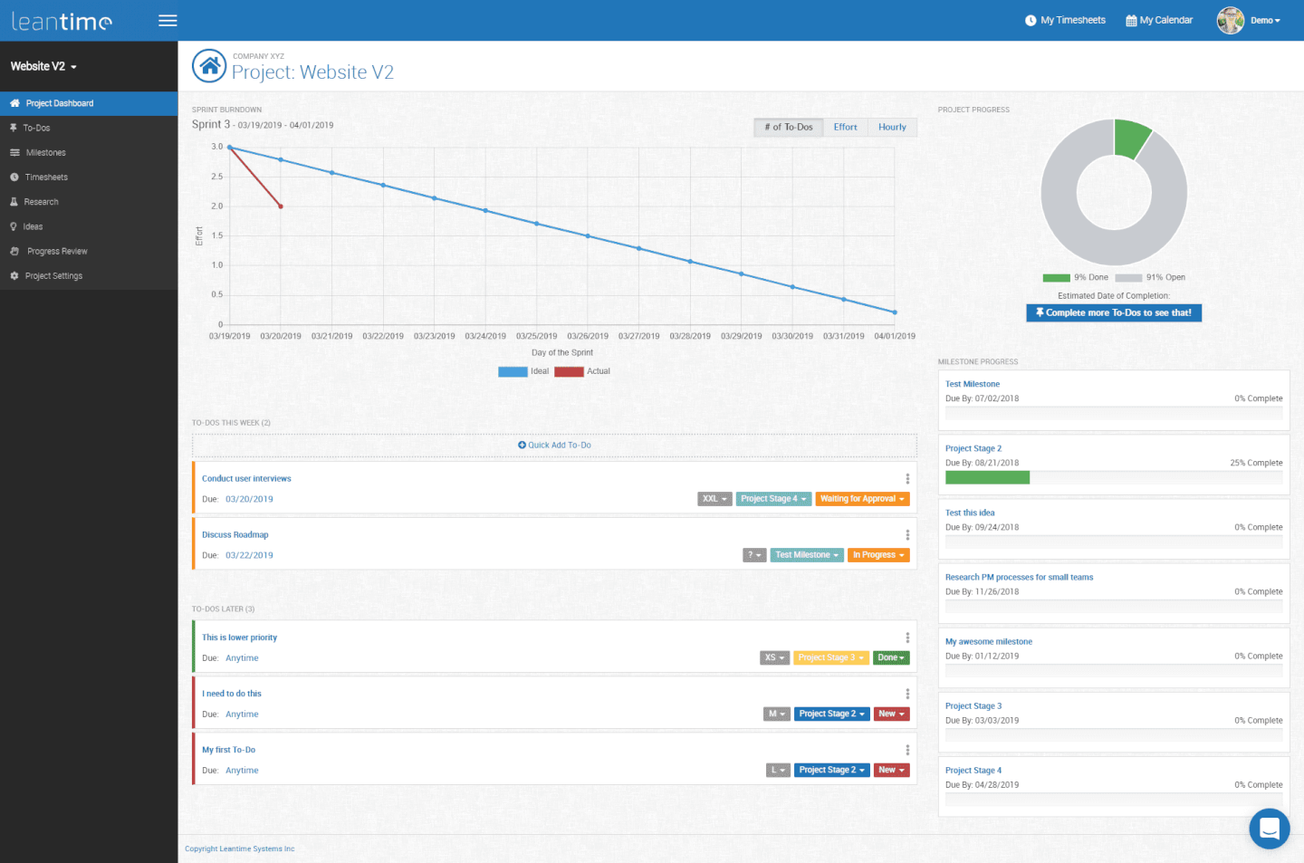 leantime-projectmanagement-software-tool-screenshot-Dashboard