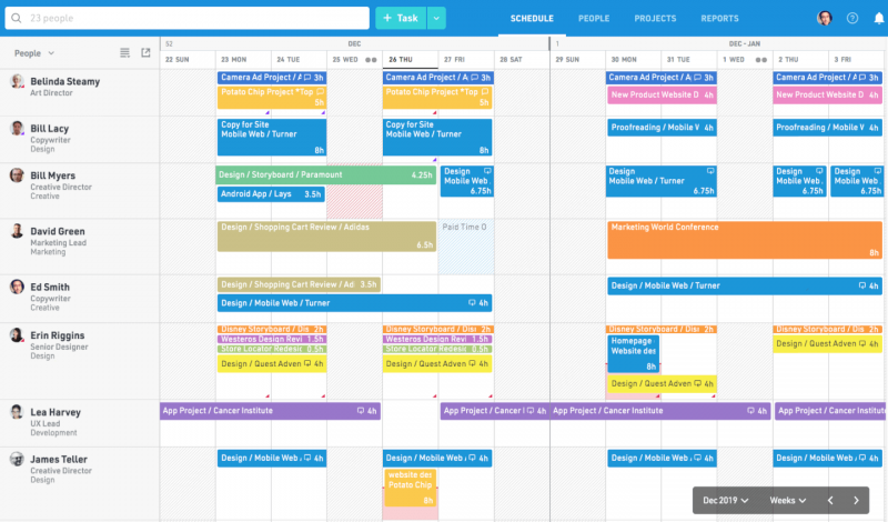 Float - project management tool with resource management software