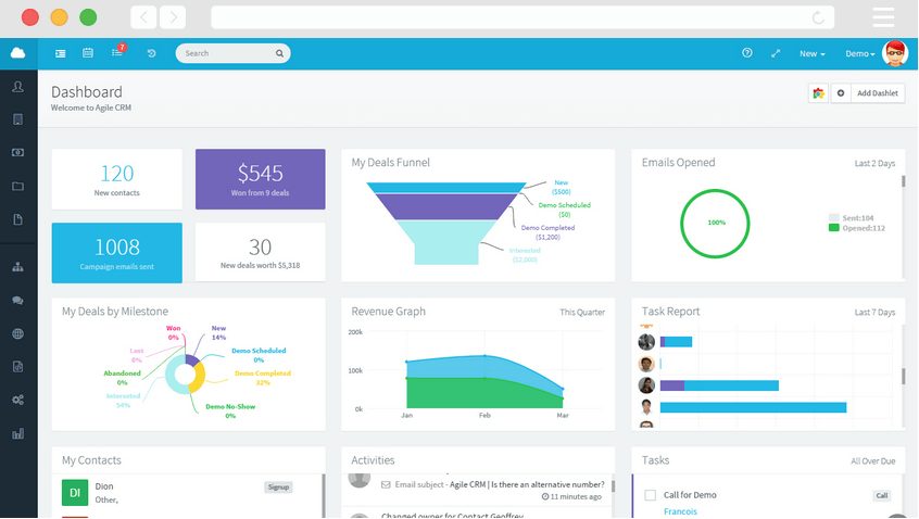 Agile CRM screenshot - The 10 Best CRMs For Small Businesses in 2020