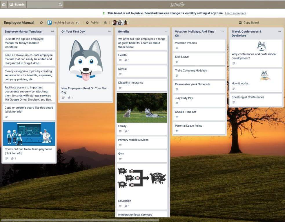 Trello board employee handbook screenshot