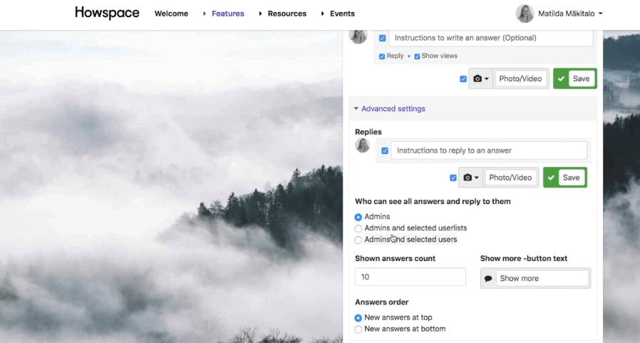 Screenshot of Howspace communication platform