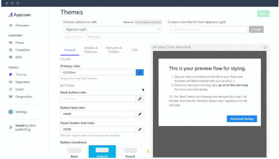 Appcues Theme Customize Page