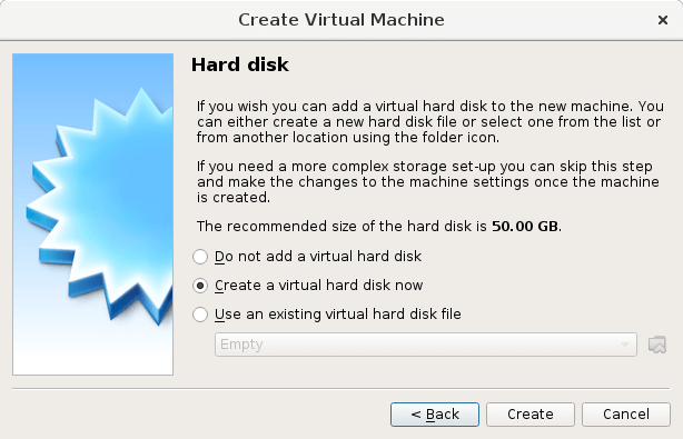 Screenshot of creating a virtual hard disk to allocate storage