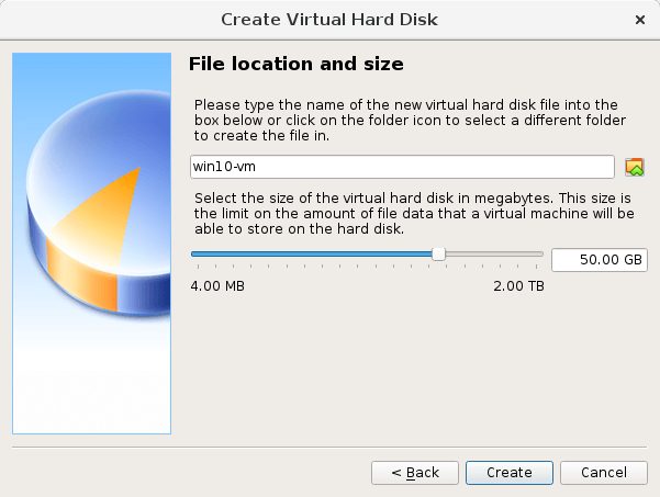 Screenshot of choosing a file location and size