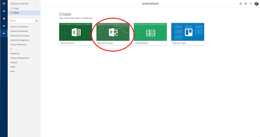 Screenshot of the Smartsheet software used to open Microsoft Projects Files