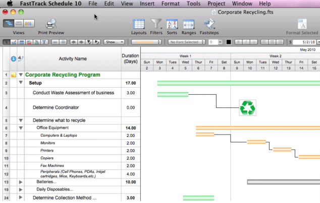 Fast Track Schedule screenshot - The 10 Best Project Management Software For Mac in 2020