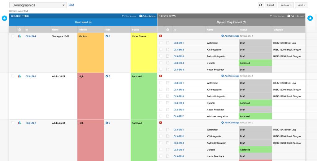 Jama Software Live Traceability Screenshot