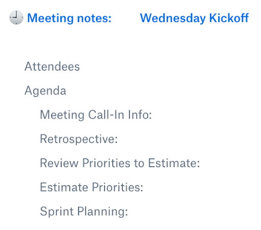 A typical Wednesday Kickoff agenda screenshot