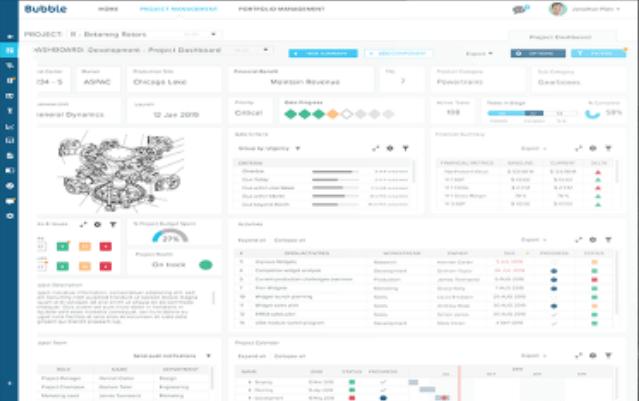 Bubble project dashboard software screenshot