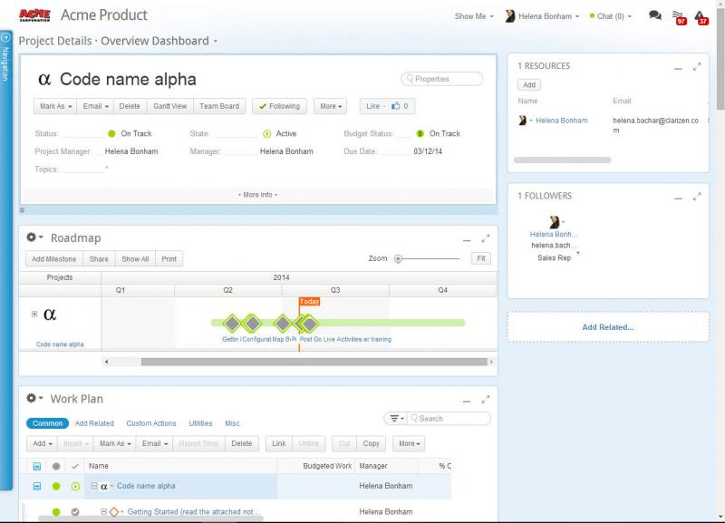 Clarizen enterprise project management software screenshot