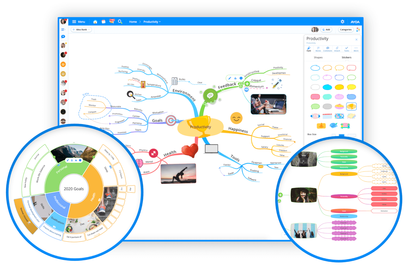 Ayoa screenshot - Compare The 5 Best Mind Mapping Software of 2020