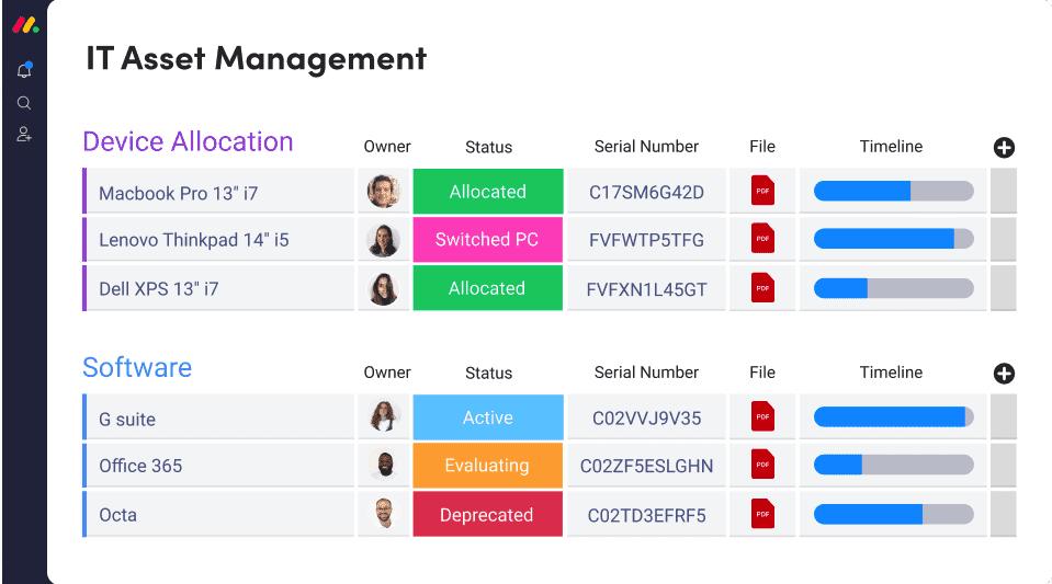 Monday Asset Management Screenshot