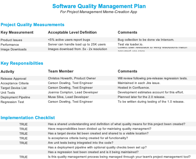 Quality Management Plan Sample screenshot
