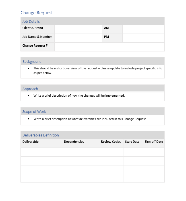 Change Request Template Screenshot