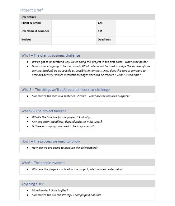 Project Brief Template Screenshot