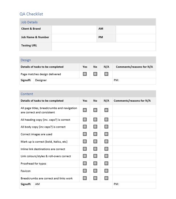 QA Checklist Screenshot