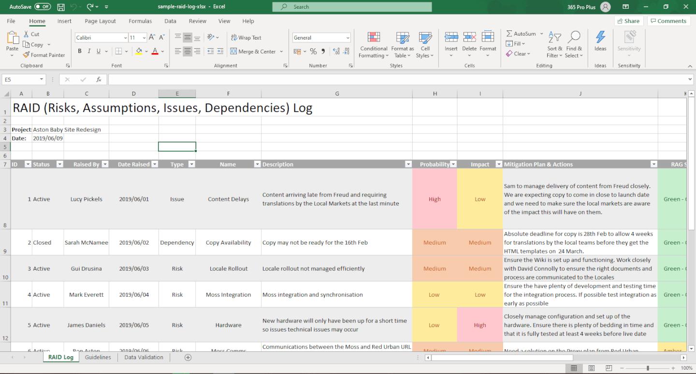 Sample RAID Log Screenshot