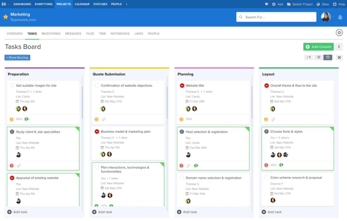 Teamwork Projects screenshot - Die beste Marketing Projektmanagement-Software 2020