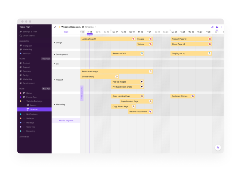 Toggle Plan Plan Timelines Screenshot