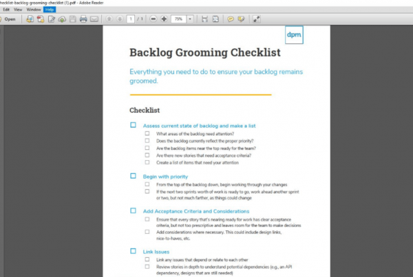 Backlog Grooming Checklist