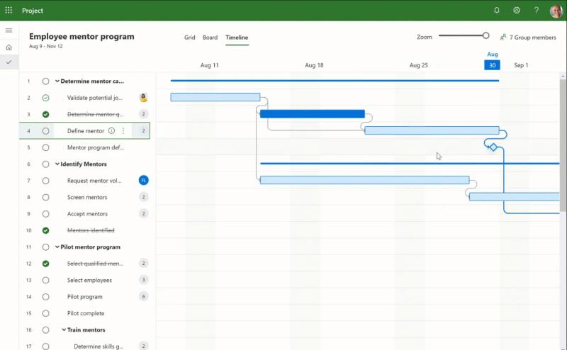Screenshot of Microsoft Project Management Software