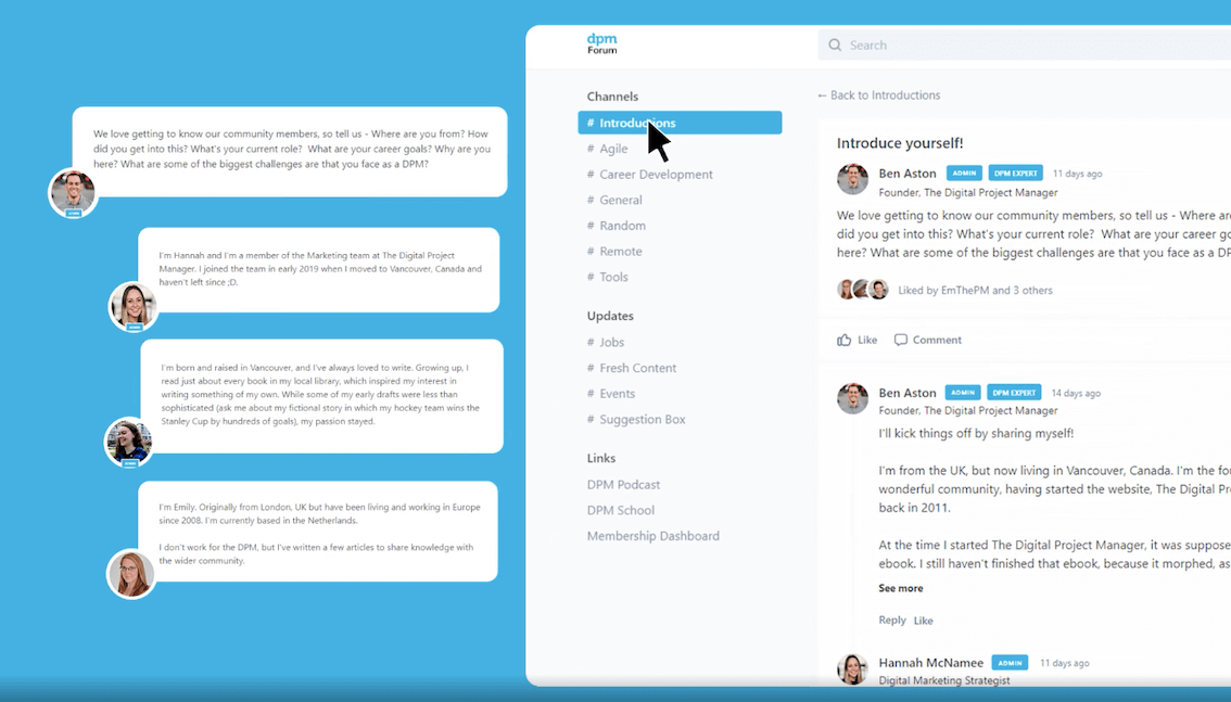 A screenshot of the DPM Forum introductions channel