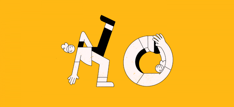 illustration of project managers bending in the shape of the word No