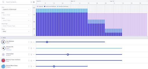 screenshot of runn capacity charts