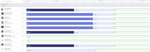 screenshot of the runn people planner