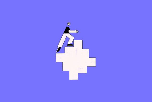 illustration of a developer walking up a stair shape
