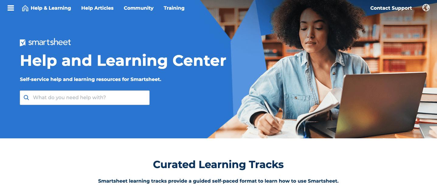 Smartsheet Help And Learning Center Screenshot