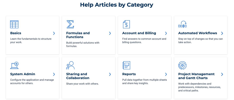 Smartsheet Help Articles By Category Screenshot