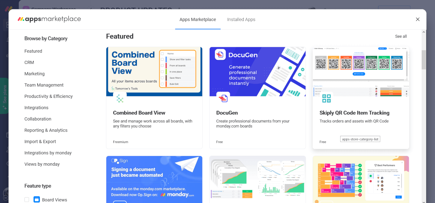 Screenshot Of Monday In Depth - Apps Marketplace