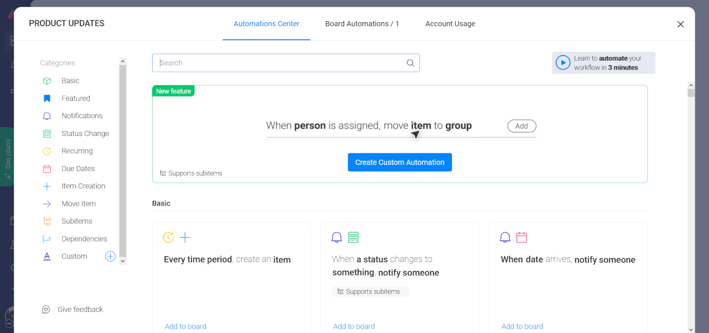 Screenshot of Monday In Depth - Automations Center